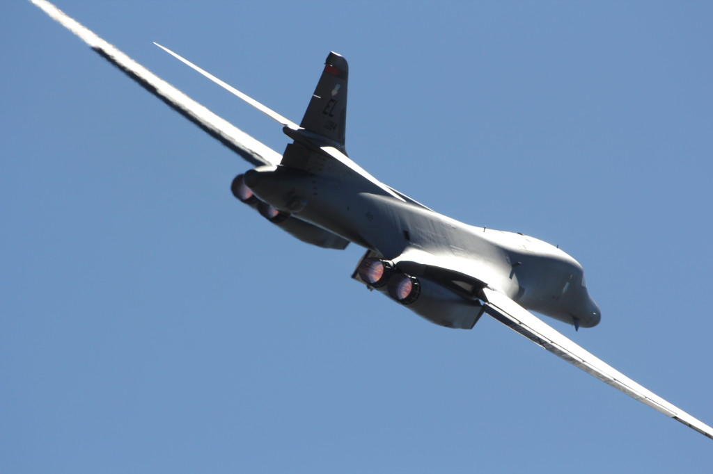 A B-1B Lancer in Full Afterburner take-off during Red Flag 2012-4, July 2012 on Nellis AFB, Nevada.
