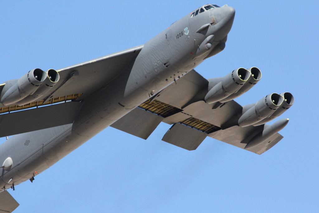 A B-52H Stratofortress 61-1005 of 96BS from Barksdale AFB captured during take-off during Red Flag 2012-4, July 2012 Nellis AFB Nevada