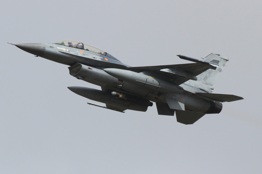 Belgian F16 during take off, April 2013 Frisian Flag Leeuwarden AFB