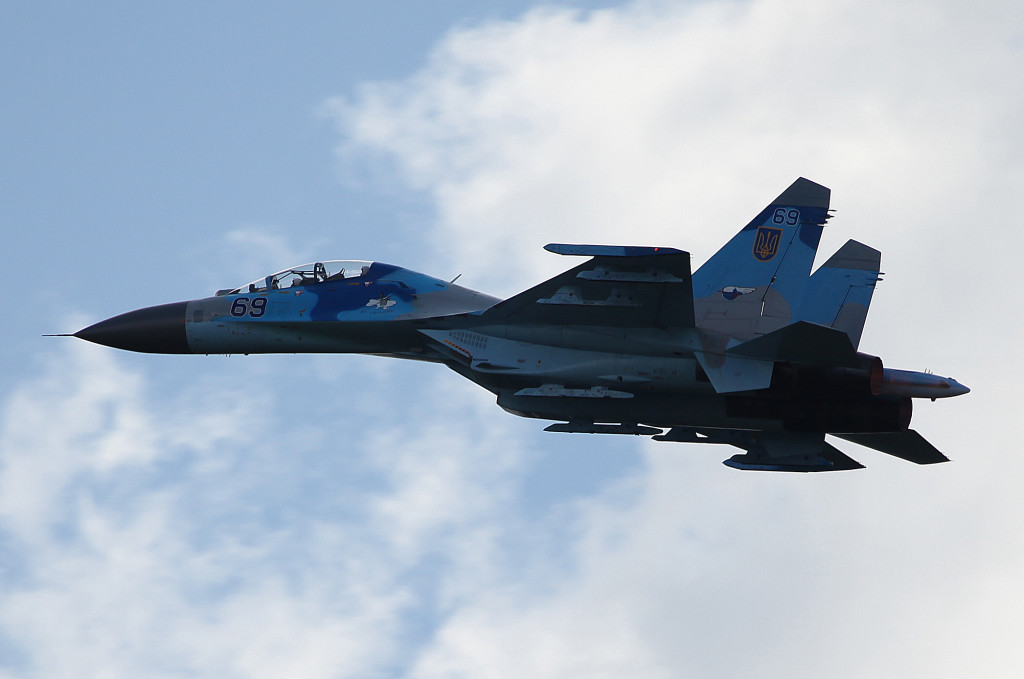Highlight of the show SU-27UB Fencer from 831 VABR Ukrainian AF