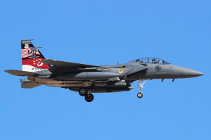 F-15SG, Signapore Air Force from 428 FS Buccaneers, Mountain Home AFB Idaho, during Red Flag 2014-3 Nellis AFB July 2015