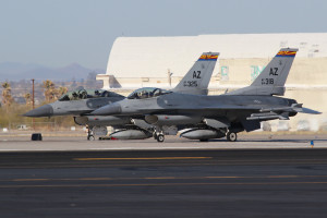 2 F-16C 84-0318 and 84-0325 from 162 FW Arizona ANG, Tucson IAP Captured in March 2013 on Tucson IAP, Arizona.