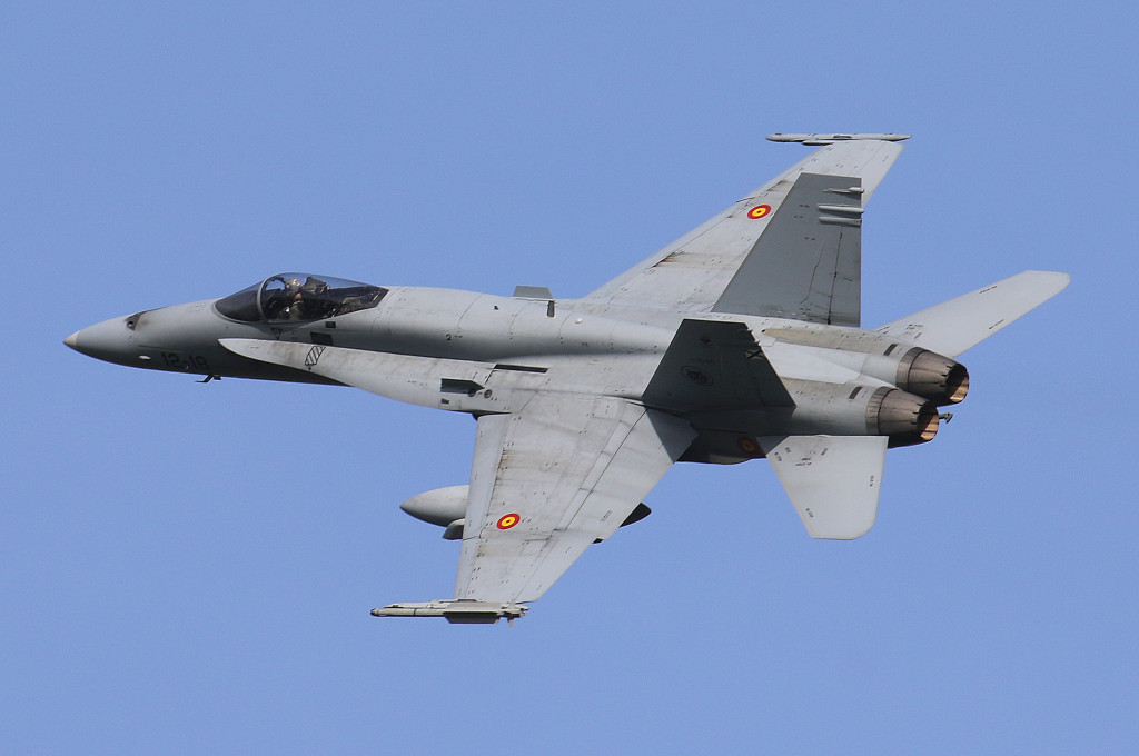 EF-18CM 12-18 from Ala 12 from Torrejon AFB, Spain captured during Frisian Flag 2015, Leeuwarden AFB April 2015