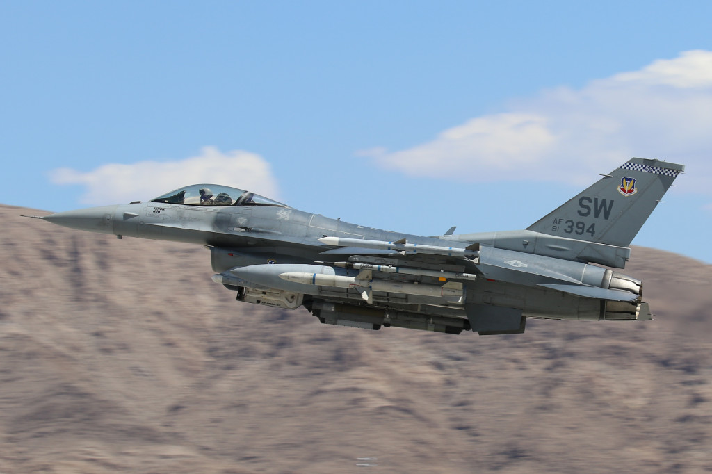 F-16CJ 91-0394 from the 55FS 'Fifty Fifes' Shaw AFB, South Carolina captured during take off for Red Flag 15-3 in July 2015 on Nellis AFB Nevada